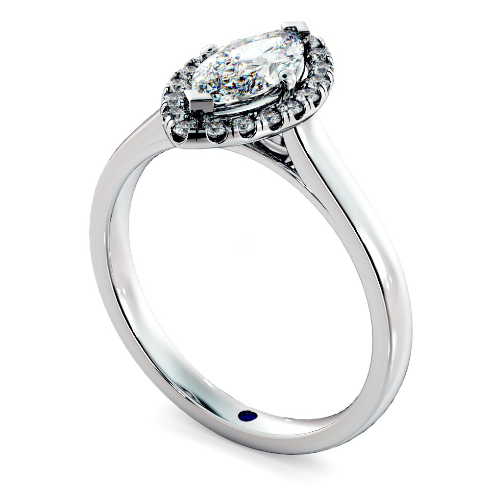 Marquise Halo Diamond Ring in 18K white gold