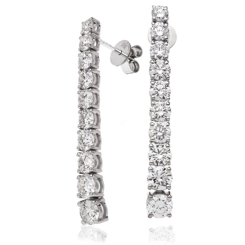 Round Diamond Journey Earrings in 18K White Gold