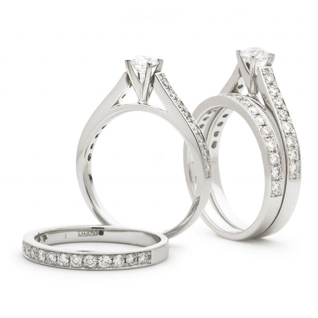 Round cut Bridal Diamond ring set