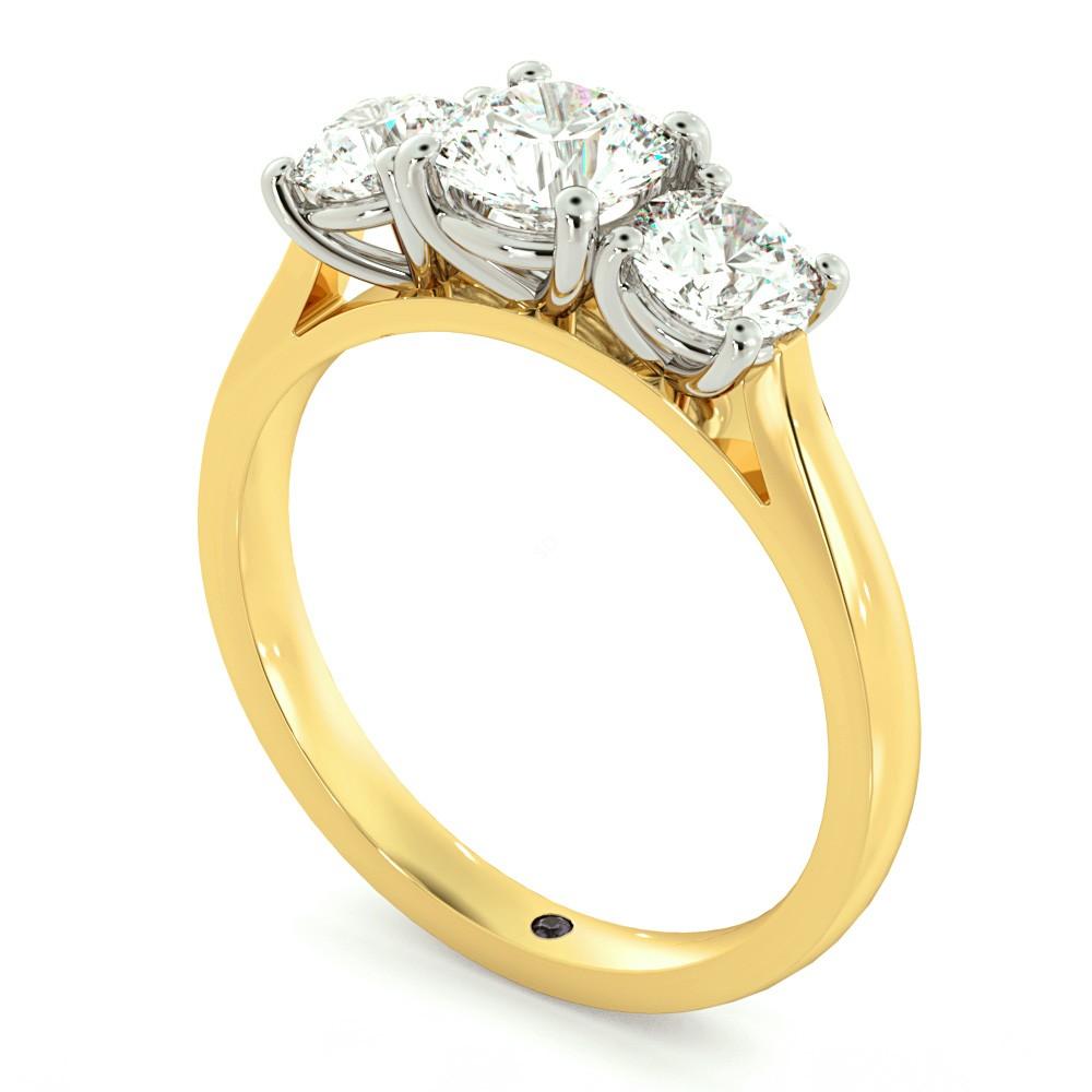 Round three stone Diamond Ring in 18K Yellow Gold
