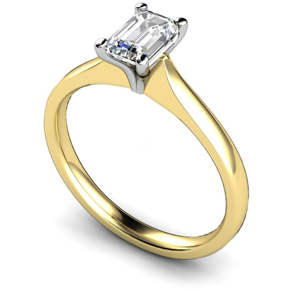 4 Claw Emerald Solitaire Engagement Ring