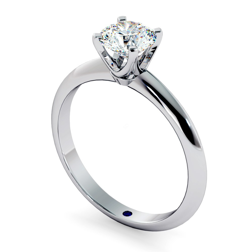 Classic Round Solitaire Diamond Ring in 18k White Gold