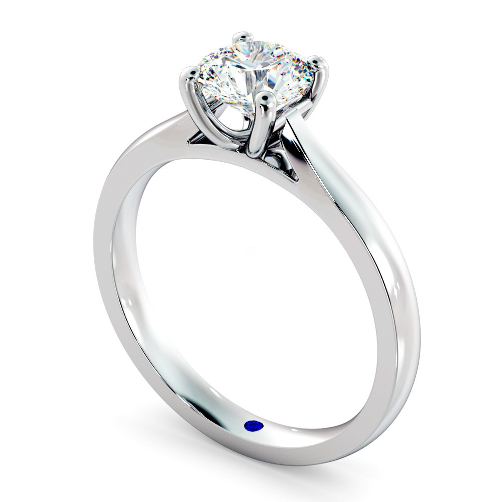 Round Solitaire Diamond Ring in 18K White Gold