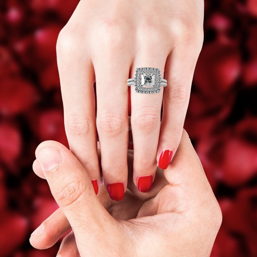 HRPSD688 Double Halo Diamond Ring | Shining Diamonds