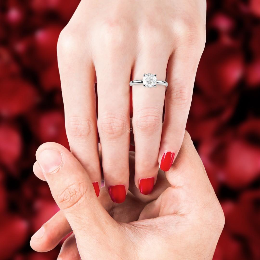 HRR556 Crossover Set Solitaire Diamond Ring | Shining Diamonds