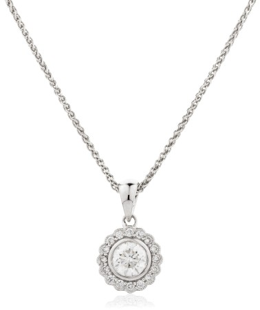 Round cut Designer Diamond Pendant - HPR151