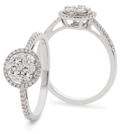 Classic Round cut Circular Halo Cluster Diamond Ring - HRRCL939