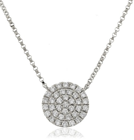 Round cut Circle Cluster Diamond Pendant - HPRDR117