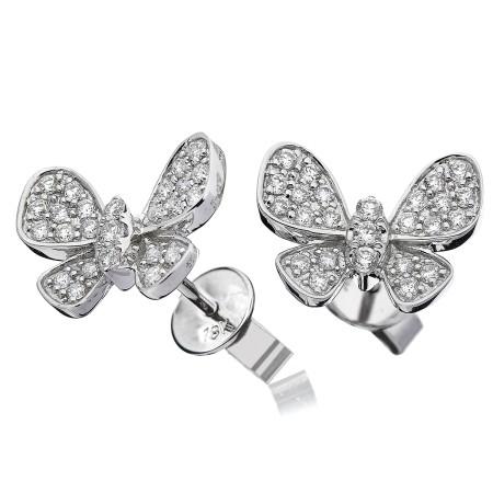Round cut Butterfly Diamond Cluster Earrings - HERCL96