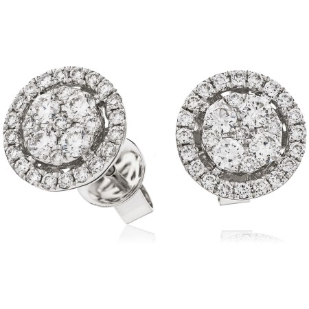 Round cut Halo Cluster Diamond Earrings - HERCL98