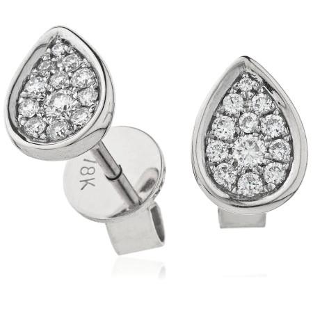 Tear Drop Bezel Round cut Cluster Diamond Earring - HERCL100