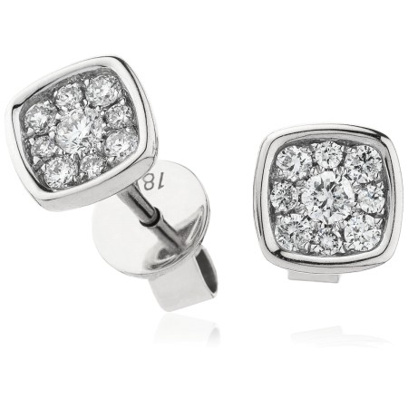 Cushion Bezel Round cut Cluster Diamond Earring - HERCL101