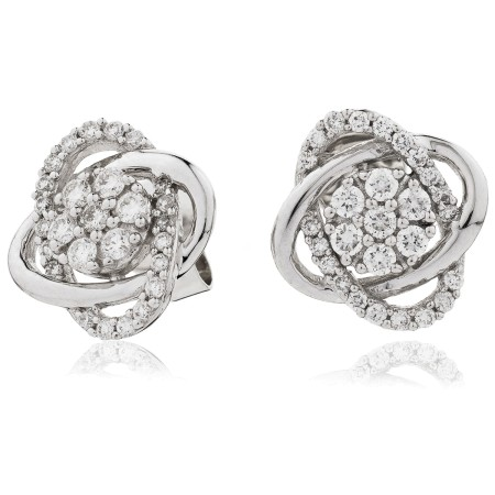 Round cut Infinity Cluster Diamond Earrings - HERCL95