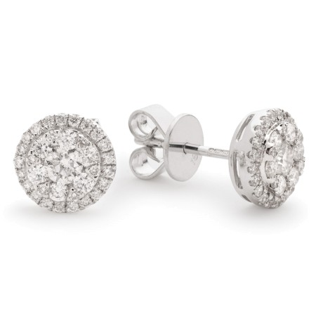 Round cut Halo Cluster Diamond Earrings - HERCL106