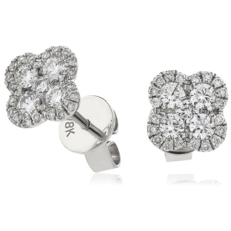 Quad Circle Round cut Cluster Diamond Earrings - HERCL107