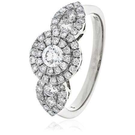 Round cut Pear Shaped Sides Cluster Diamond Ring - HRRCL892