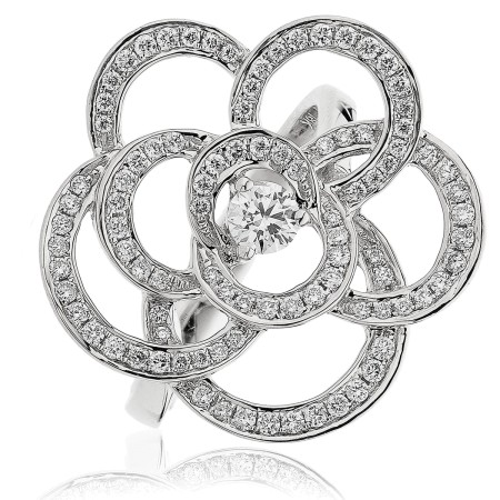 Round cut Flower Shaped Cocktail Diamond Ring - HRRCL893