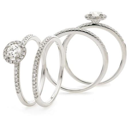 Round cut Halo Bridal Diamond Rings Set - HRRBS888