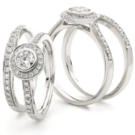 Round cut Pave set Bridal Diamond Rings Set - HRRBS889