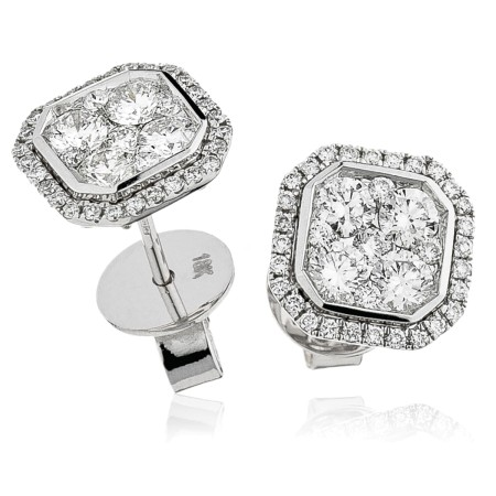 Bezel set Round cut Cluster Diamond Earrings - HERCL116