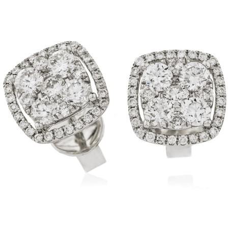 Cushion Halo Round cut Cluster Diamond Earrings - HERCL117