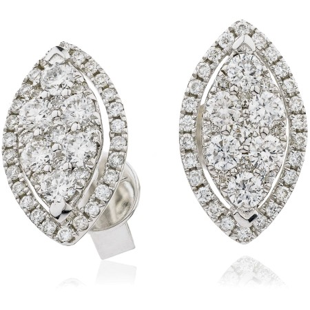 Maquise shaped Halo Round cut Diamond Cluster Earrings - HERCL118