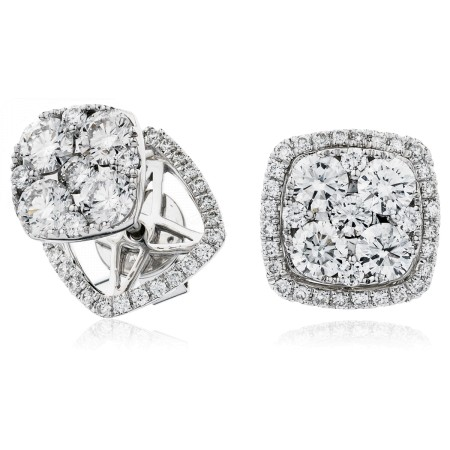 Changeable Cushion Halo Round cut Cluster Diamond Earrings - HERCL120