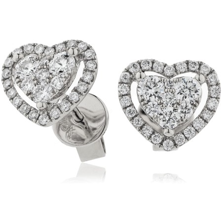 Heart shaped Halo Round cut Cluster Diamond Earrings - HERCL122