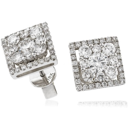 Square Halo Round cut Cluster Diamond Earrings - HERCL112