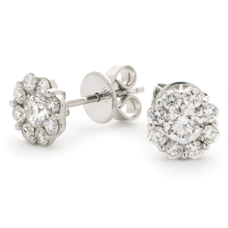 Round cut Cluster Diamond Earrings - HERCL109