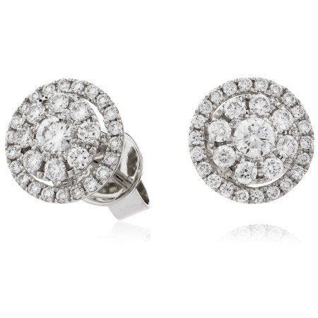 Classic Round cut Halo Cluster Diamond Earrings - HERCL113