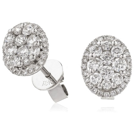 Oval Halo Round cut Cluster Diamond Earrings - HERCL114