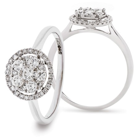 Round cut Halo shaped Cluster Diamond Ring - HRRCL896