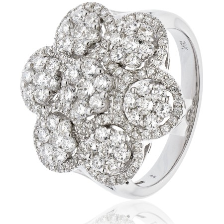 Large Round cut Cluster Cocktail Diamond Ring - HRRCL899