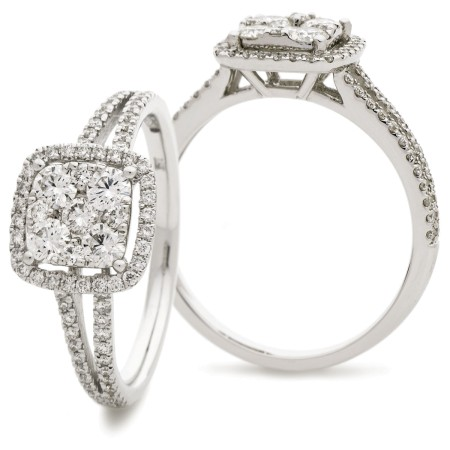 Split Shank Cushion Halo Round Diamonds Cluster Ring - HRRCL901