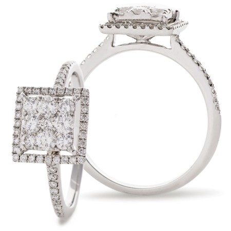 Square Halo Round cut Cluster Diamond Ring - HRRCL904