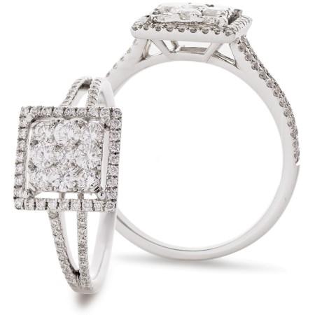 Split Shank Square Halo Round Diamonds Cluster Ring - HRRCL905