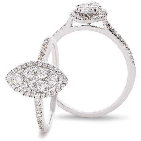 Marquise cut Shaped Halo Round cut Cluster Diamond Ring - HRRCL907