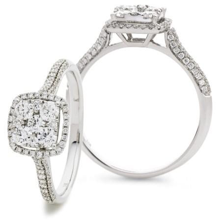 Cushion shaped Halo Round cut Cluster Diamond Ring - HRRCL908