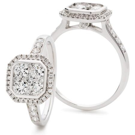 Round cut Octa Shaped Bezel illusion Halo Cluster Diamond Ring - HRRCL909