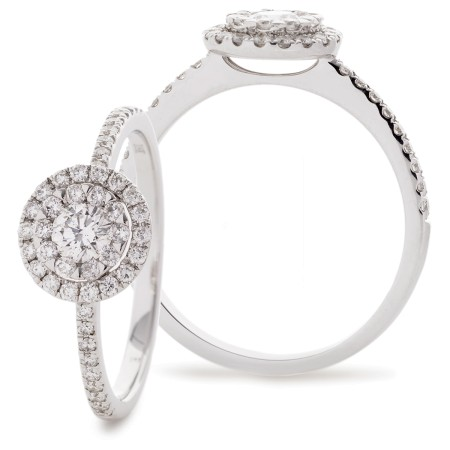 Round cut Double Halo Cluster Diamond Ring - HRRCL910