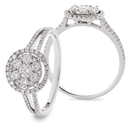Split Shank Round Halo Diamond Cluster Ring - HRRCL912