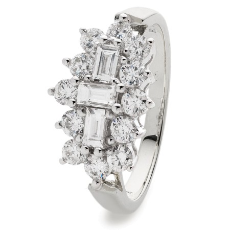 Baguette and Round cut Boat Cluster Diamond Ring - HRBCL887