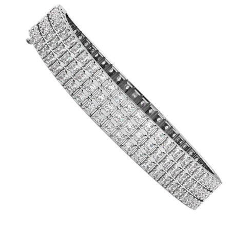 IVANOVIC Triple Row Princess cut Tennis Diamond Bracelet - HBP011