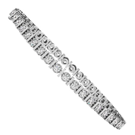 KOURNIKOVA Barred Round cut Bezel set Single Line Diamond Bracelet - HBR005