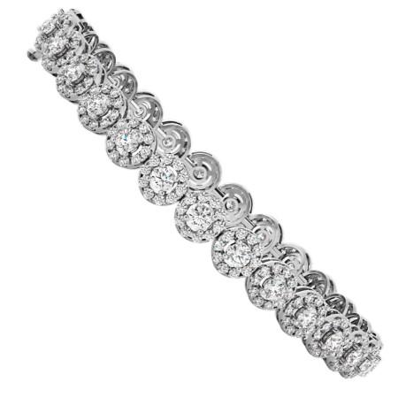 BILLIE Designer Round cut Halo Tennis Diamond Bracelet - HBR012