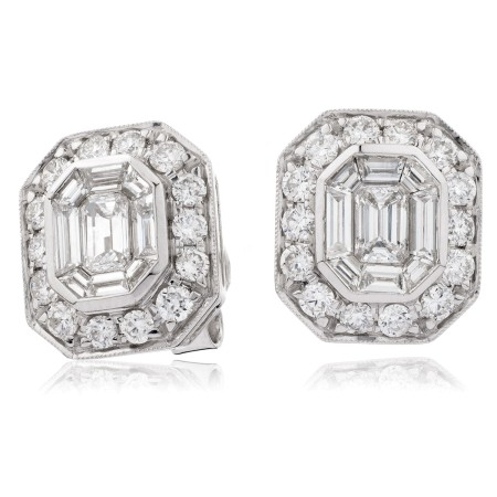 Emerald & Round cut Halo Cluster Diamond Earrings - HEECL123