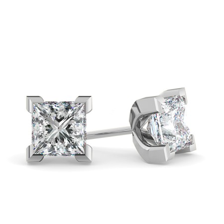Princess Diamond Stud Earrings - HEP32