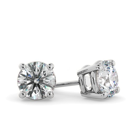 Round Stud Diamond Earrings - HER22