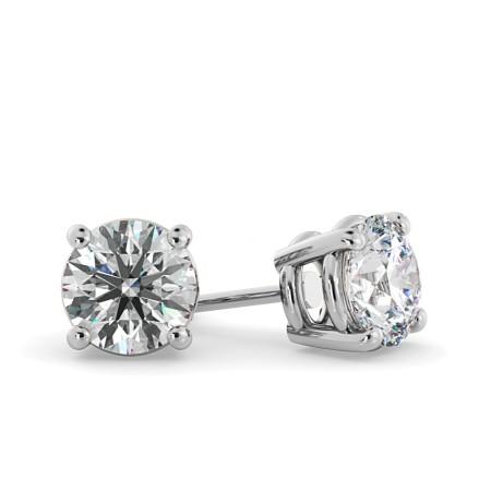 Round Stud Diamond Earrings - HER22